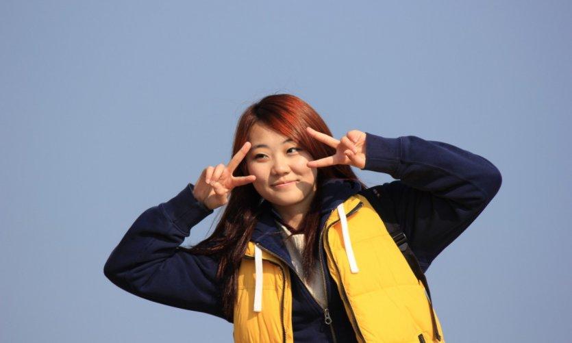 Touriste photographiée à Busan.