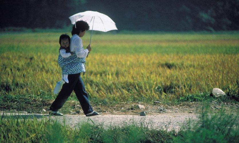 Région de Chungmu, mère et enfant.