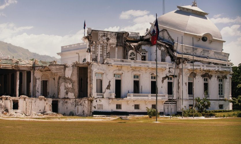 Le Palais présidentiel d'Haïti après le tremblement de terre.