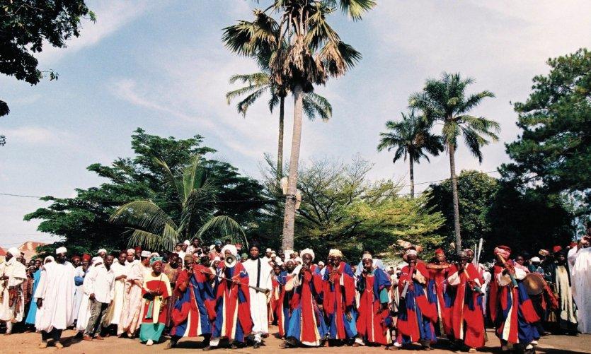 Les griots, musiciens de la cour du roi Bamoun.