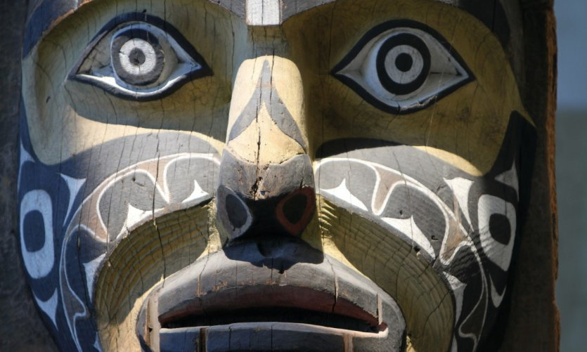 Détail d'un totem au musée d'anthropologie.