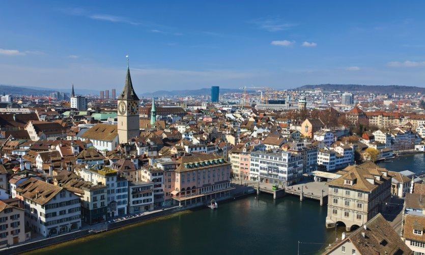 Vue aérienne de la ville de Zürich.