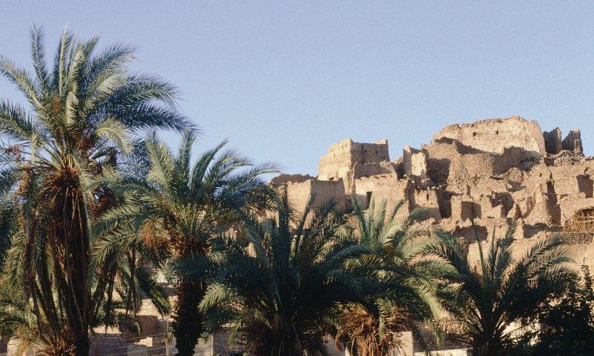 Oasis de Djanet, ancien ksar au sommet de la colline