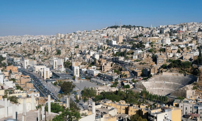 Low city of Amman and the Roman theatre of Marcus Aurelius since the citadel (Jebel Al- Qala 'a).