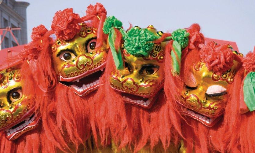 Danse du lion pour Nouvel An.