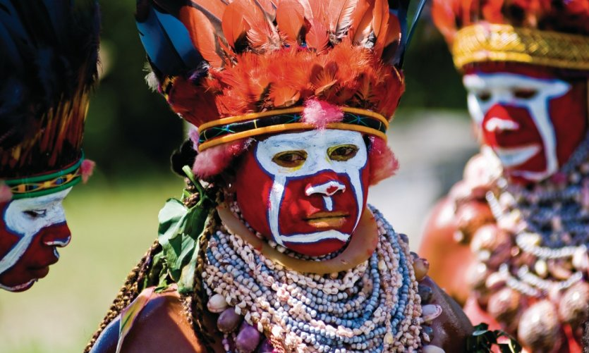 Danseuse Melpa, ethnie de la région de Hagen. Hagen Show.