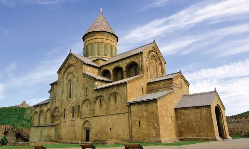 <p>Mtskheta Cathedral in the th century remains one of the spiritual hearts of the country and one of the most important monuments of Georgian Christian architecture.</p>