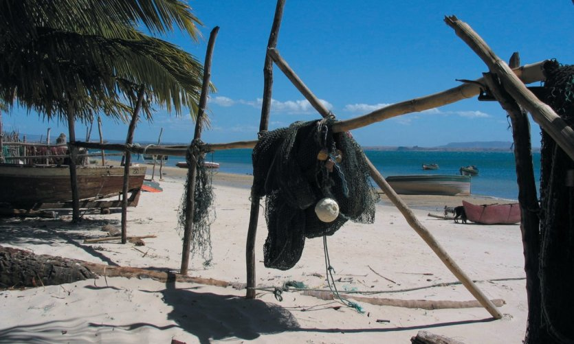 Fishing nets on the beach of Brought back