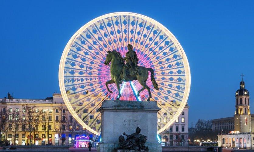 La statue de Louis XIV sur la place Bellecour.