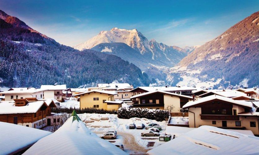 Vue panoramique de la station de Mayrhofen.