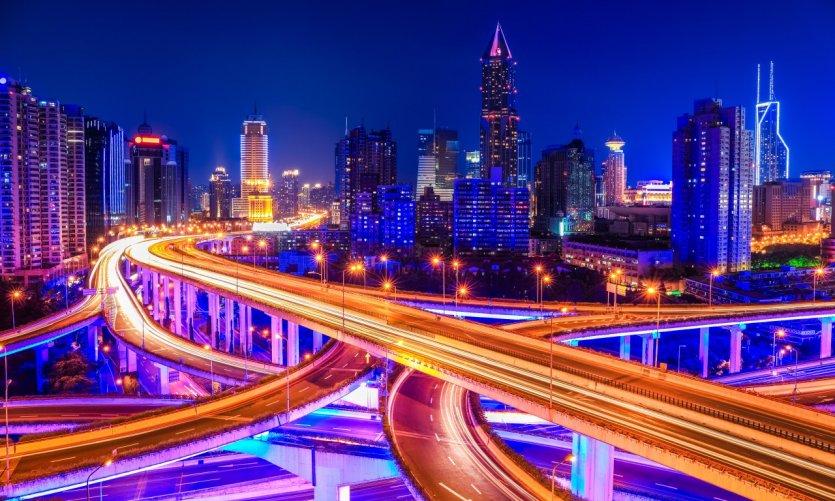Vue sur la skyline de Shangai de nuit.