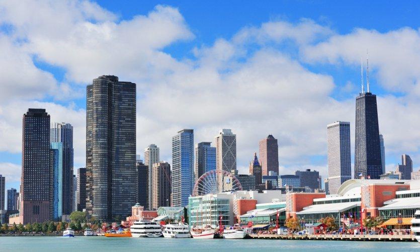 Chicago et le lac Michigan.