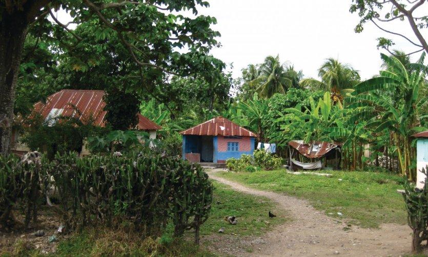 Habitations colorées en bord de route, route nationale Les Cayes