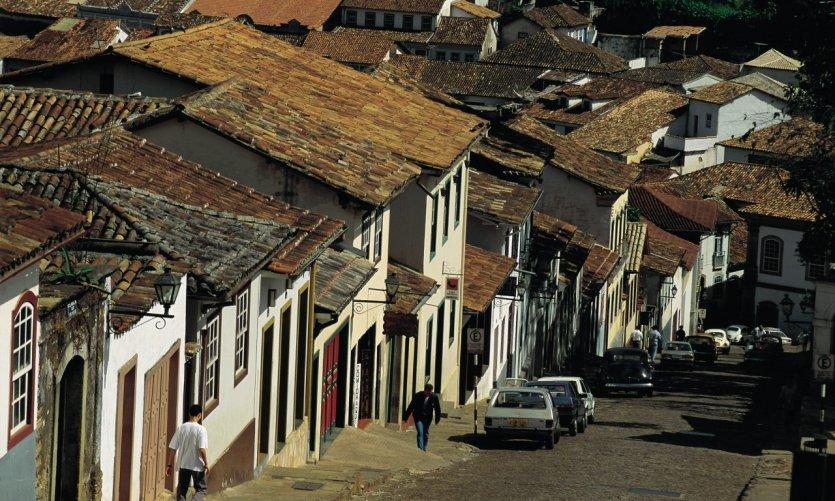Les rues sont escarpées à Ouro Preto.