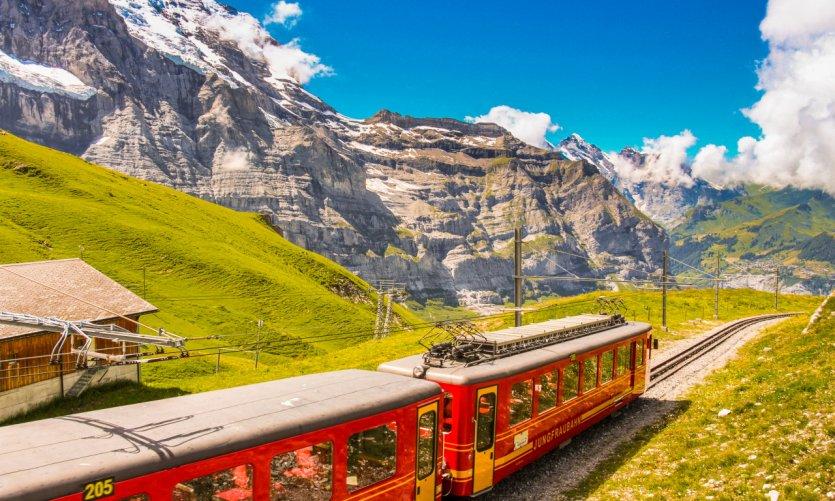 Le train à crémaillère de Jungfraujoch.