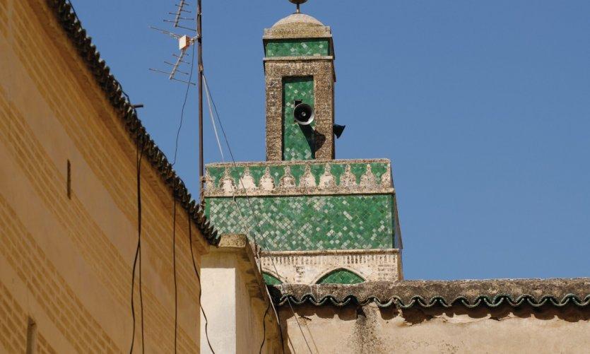 Minaret d'une mosquée de Fès.