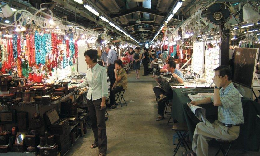 L'un des 450 marchés de Jade de Hong Kong.