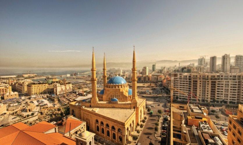 Vue sur Beyrouth et la mosquée Muhammad al-Amîn.
