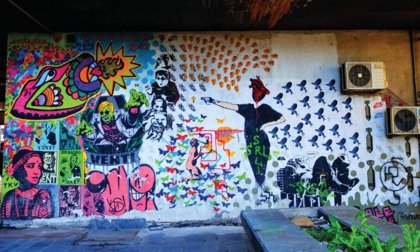 Street art dans le centre-ville, rue Balkanska.