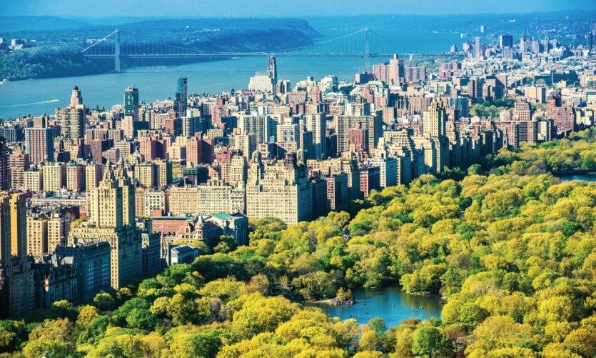 Vue aérienne de l'Upper West Side et Central Park.