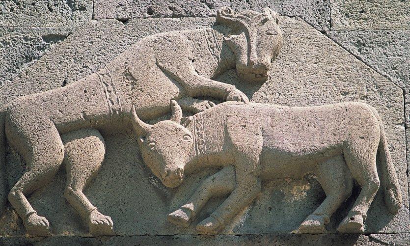Détail sculpté du monastère de la Sainte-Lance (Sourp Kéghart).