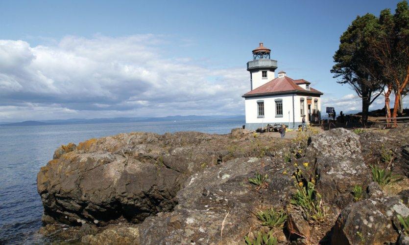 <p>Phare Lime Kiln Lighthouse, un spot conocido por la observación de las orcas.</p>