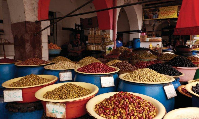 Souk aux olives situé dans le quartier des Habous.