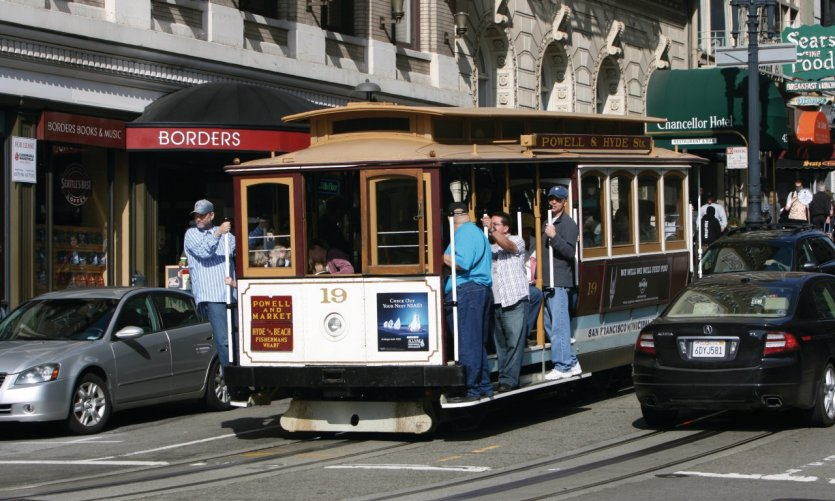 Cable car sur Powell Street.