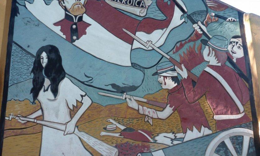 Fresque représentant la bataille de Piribebuy durant la guerre de la Triple Alliance.