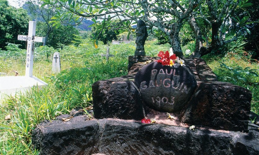 Tomb of Paul Gauguin at the Calvary Cemetery in Atuona
