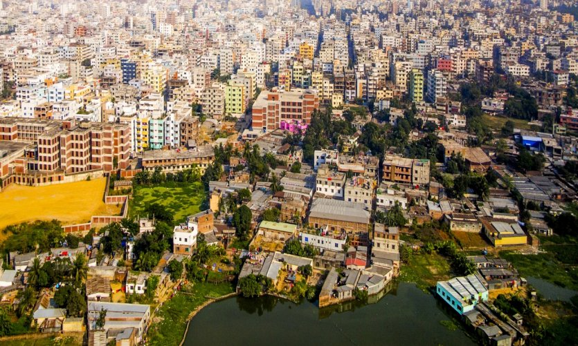 Vue aérienne de Dhaka, capitale du Bangladesh.