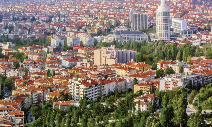 Vue aérienne de la ville d'Ankara.
