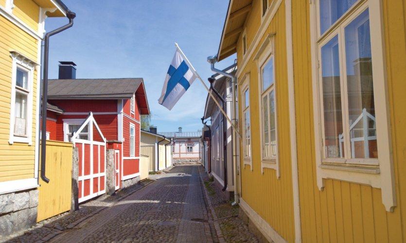 Les ruelles colorées de Rauma.