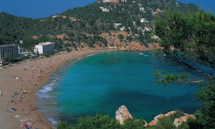 <p>Cala San Vicente and turquoise turquoise waters.</p>