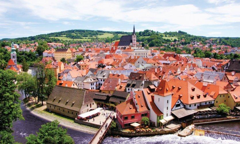Vue aérienne de la vieille ville de Český Krumlov.