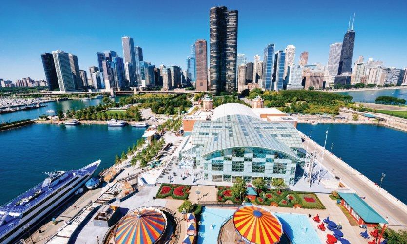 Vue aérienne de Chicago et du Navy Pier.