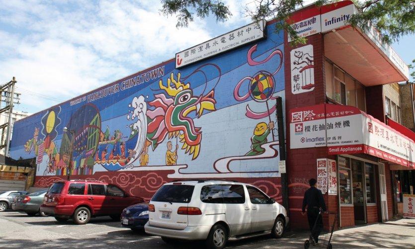 Mural mural en el barrio de Chinatown.
