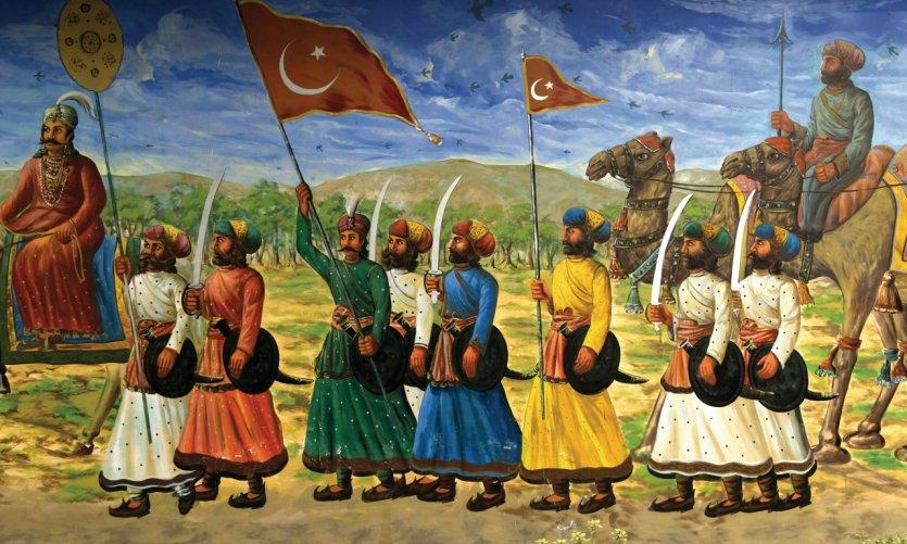 Peinture représentant la prise de la ville par les musulmans.