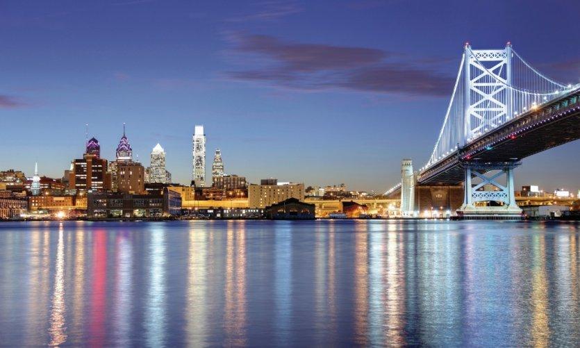 Philadelphie et le pont Benjamin Franklin