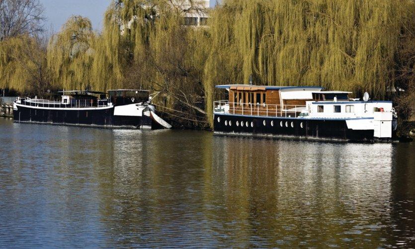 Peniches sur la Seine, à Chatou