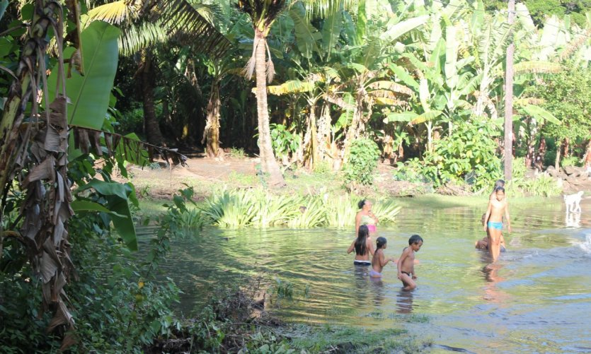 Family swimming on the road between Taipivai and Hooumi