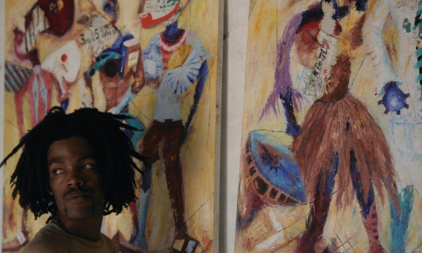 Portrait du peintre Gastineau dans son atelier.