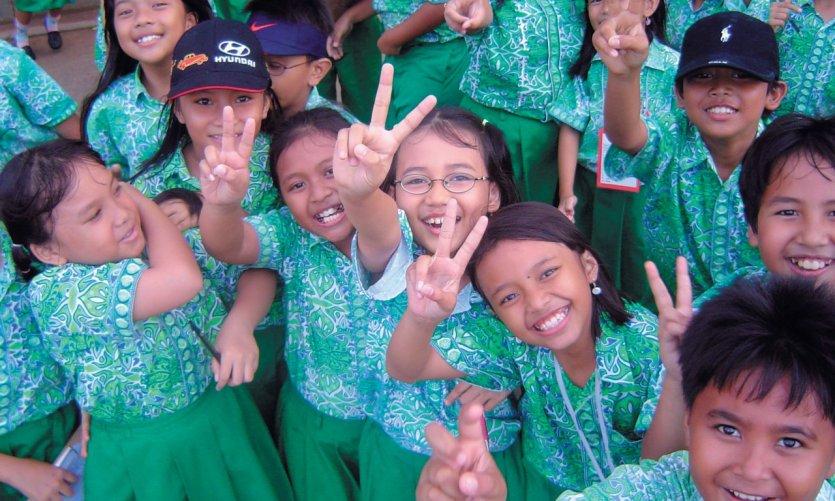 Portrait of schoolchildren in Jakarta.