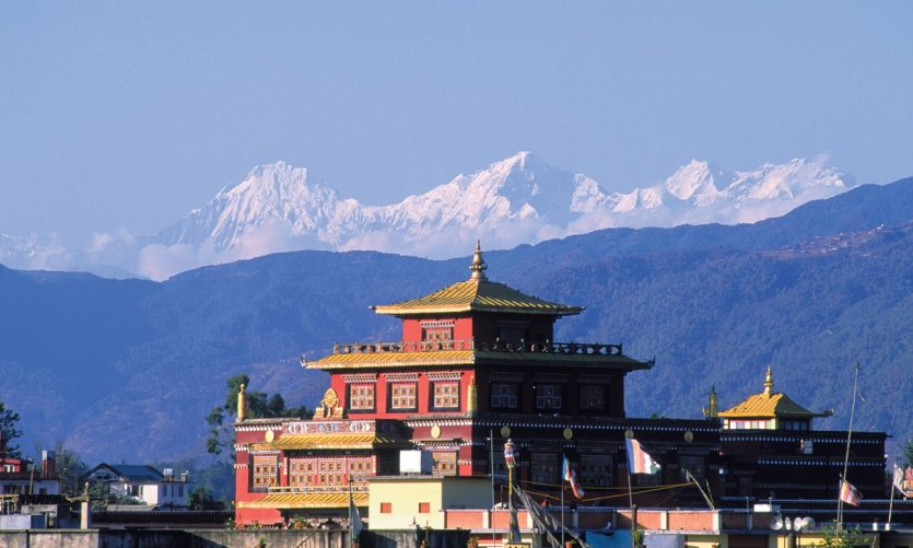 Monastère bouddhiste de Bodnath au pied de l'Himalaya.