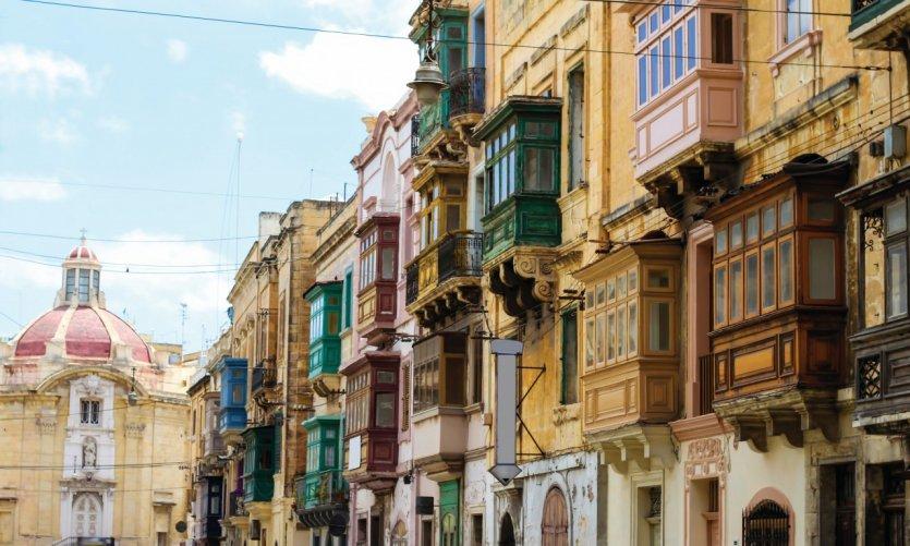 Façades de la ville de Birgu.