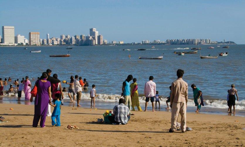Sur la plage de Mumbai.