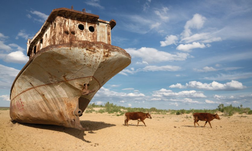 Abandoned boats in the old bed of the Aral Sea, Moynaq.