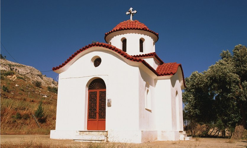 Église sur l'île de Rhodes.