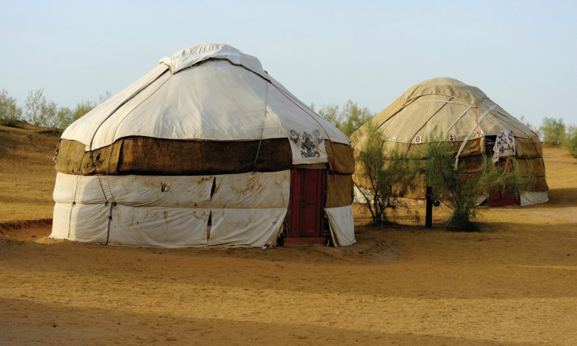 Yurts camp near Lake Aydar Kul.