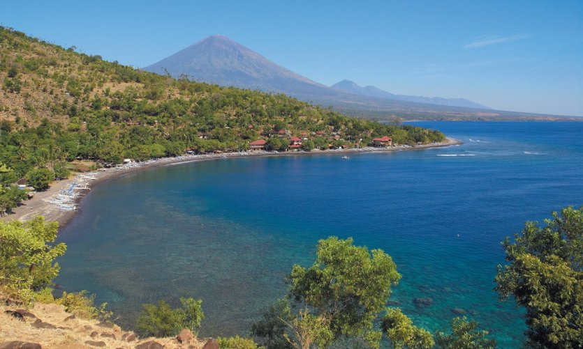 Amed Beach and Mount Batur